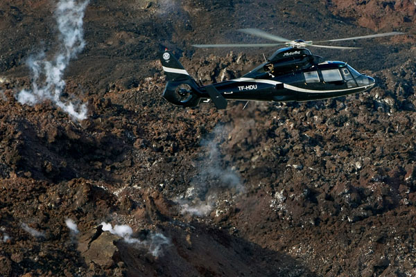 Helicopter in Iceland geothermal area chopper tour new earth