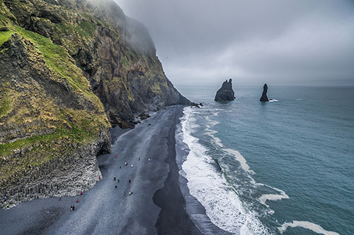 south coast Iceland, Reeynisfjara, Reynisdrangar sea stacks